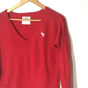 Abercrombie and Fitch Small vneck red sweater